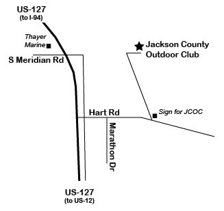 Location Of Jackson County Outdoor Club - Us-127-michigan-map